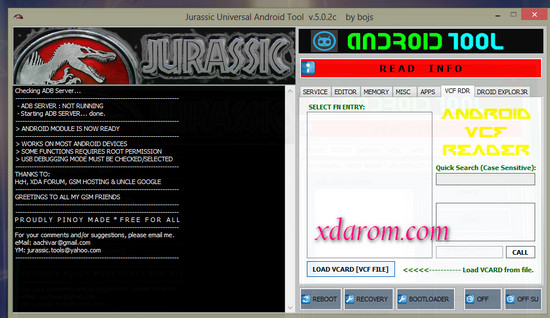 jurassic universal android tool v.5.0.2